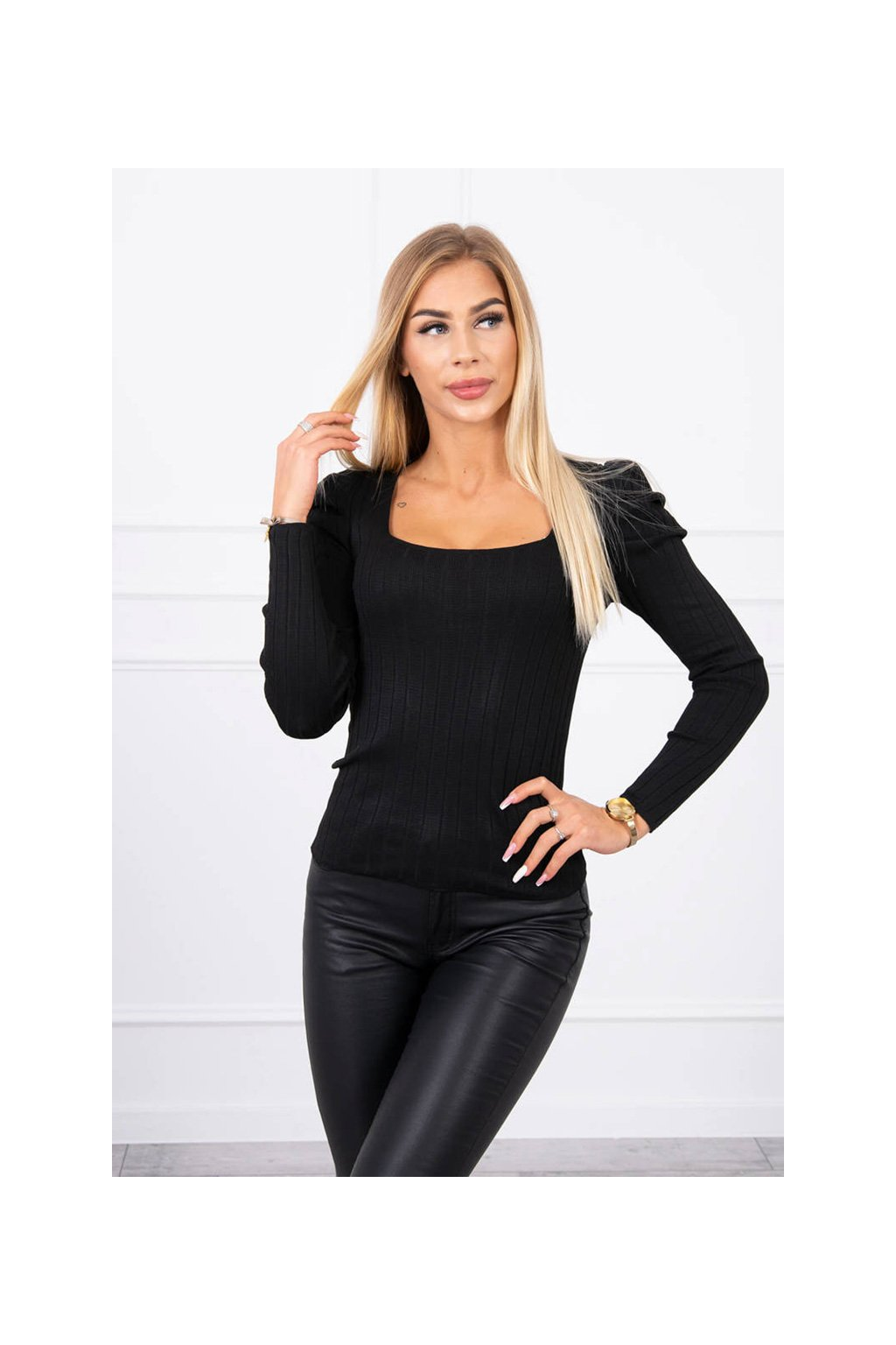 eng pl Thin sweater with puff sleeves black 19280 1