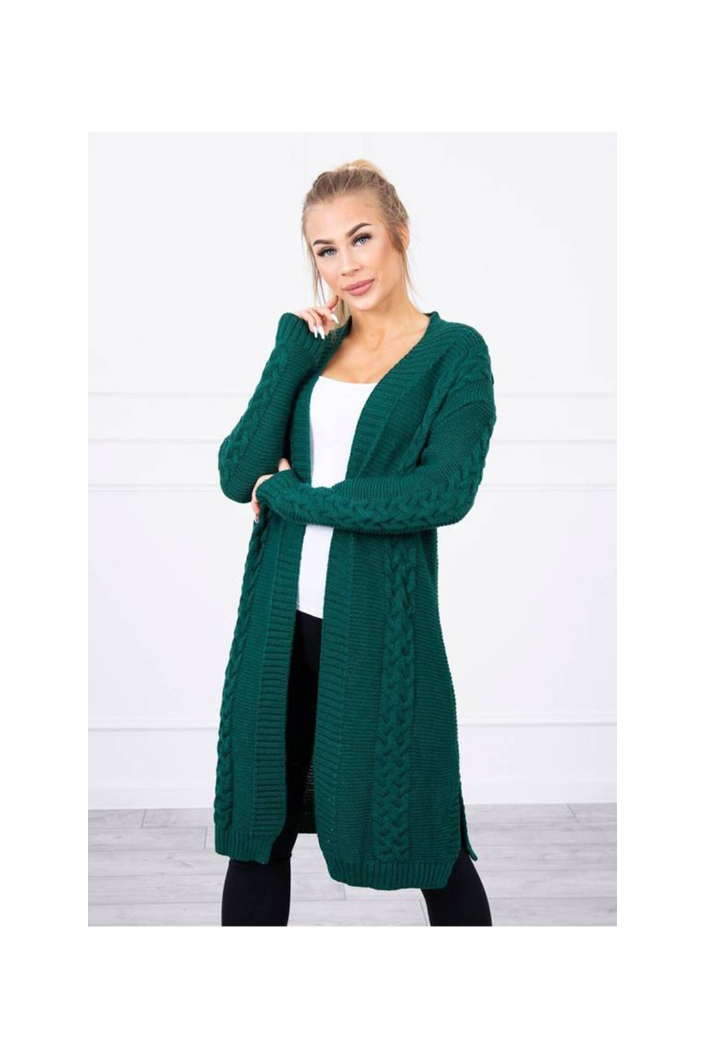 eng pm Sweater Cardigan weave the braid green 19347 2