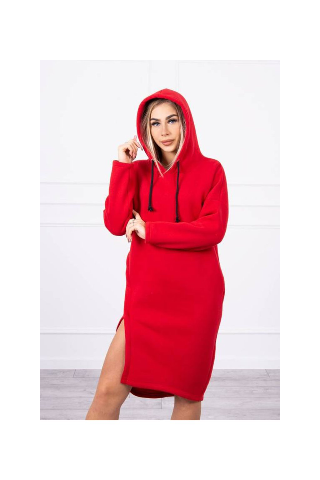 eng pm Dress with a hood and a slit on the side red 18795 6