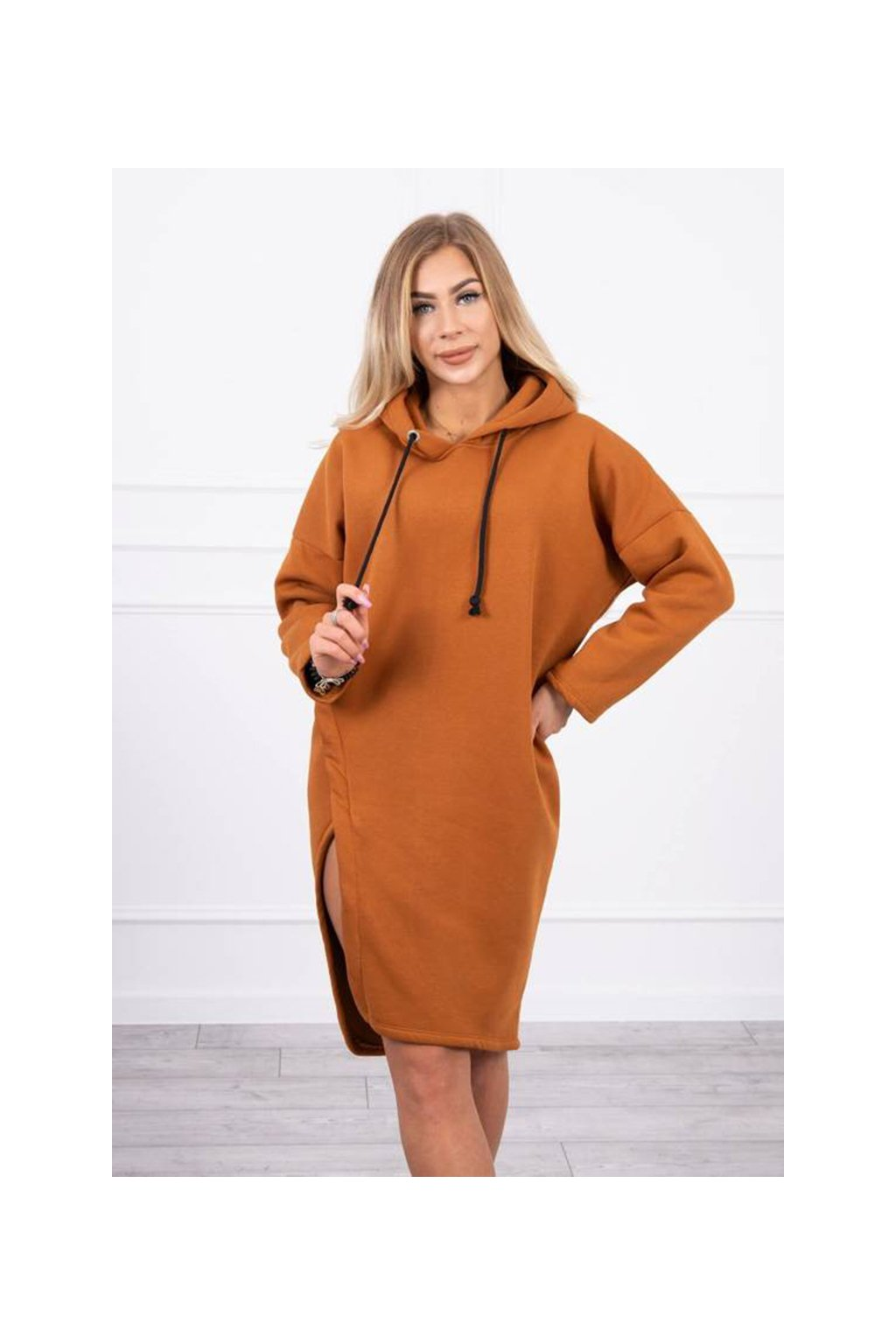 eng pm Dress with a hood and a slit on the side camel 19530 6