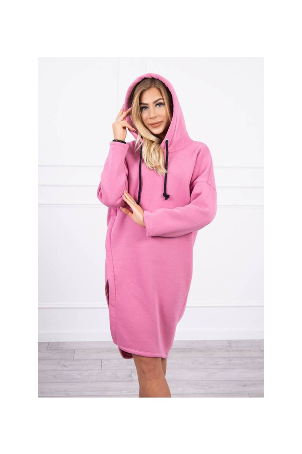 eng pm Dress with a hood and a slit on the side pink 19531 6