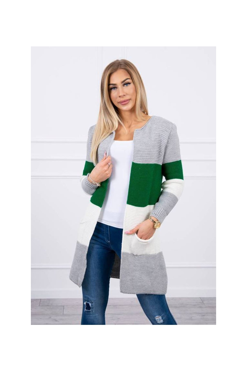 eng pm Sweater Cardigan in the straps gray green 19602 4