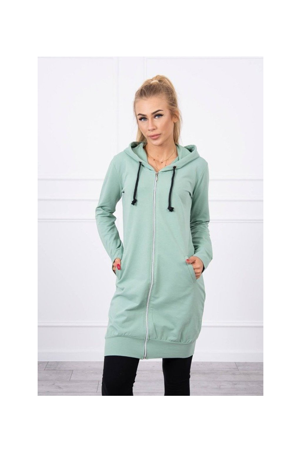 eng pm Hooded dress with a hood dark mint 17869 3