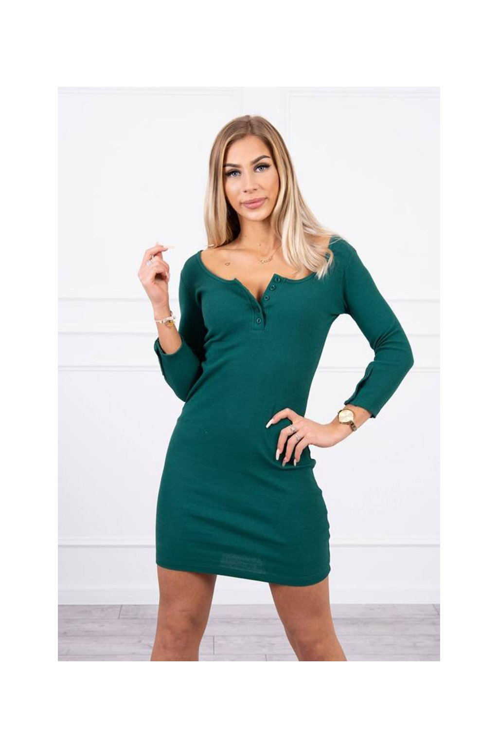 eng pm Dress with neckline with buttons dark green 19436 5
