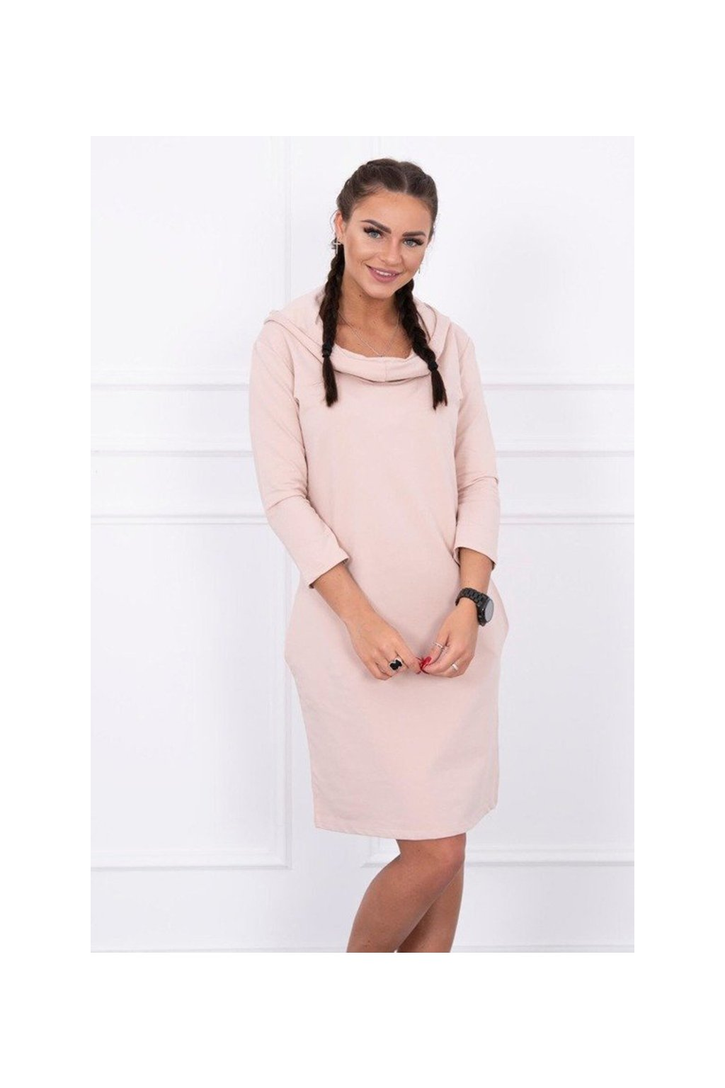 eng pm Dress with a hood and pockets powdered pink 13379 3