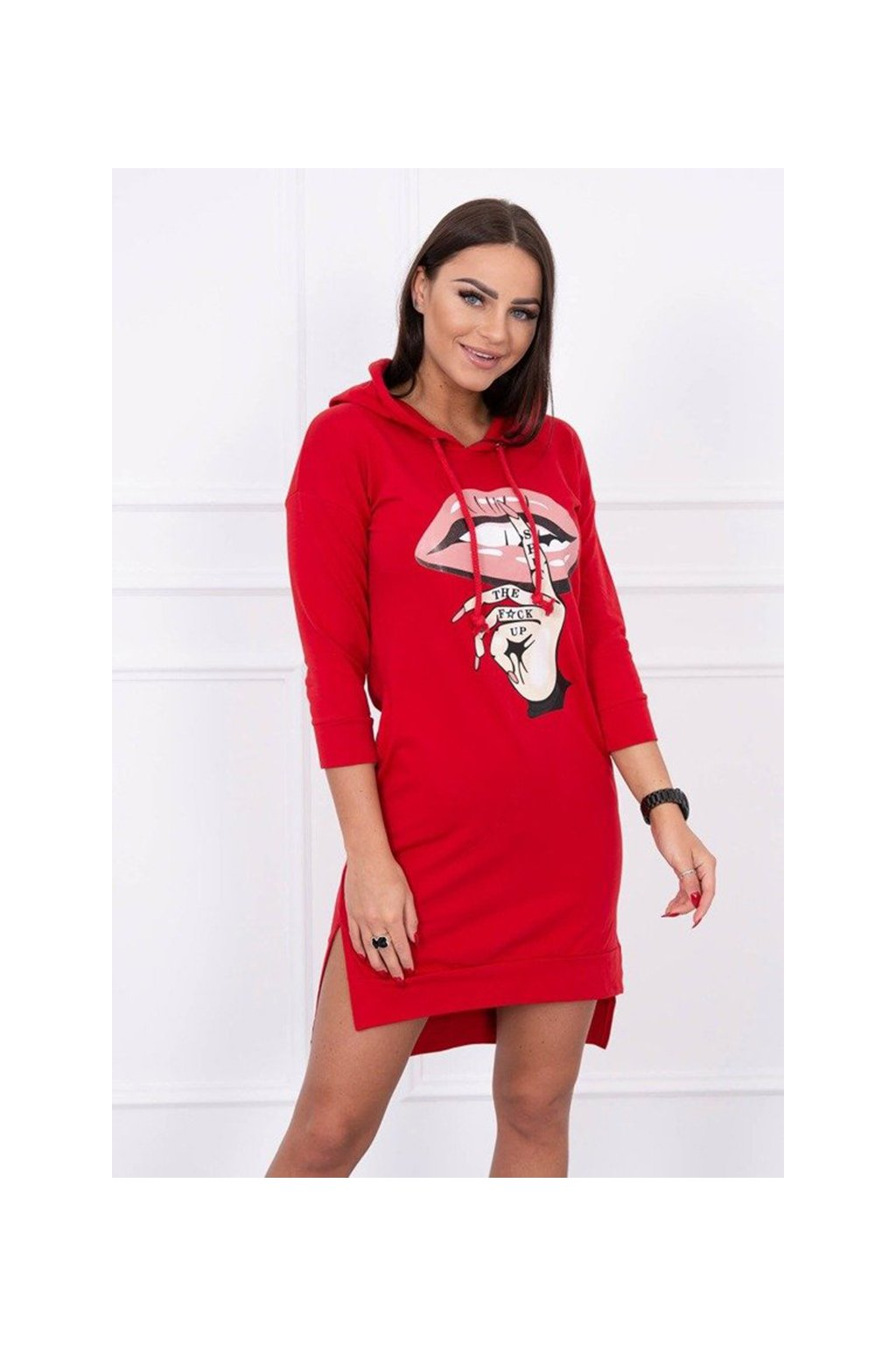 eng pm Dress with longer back and colorful print red 14560 3