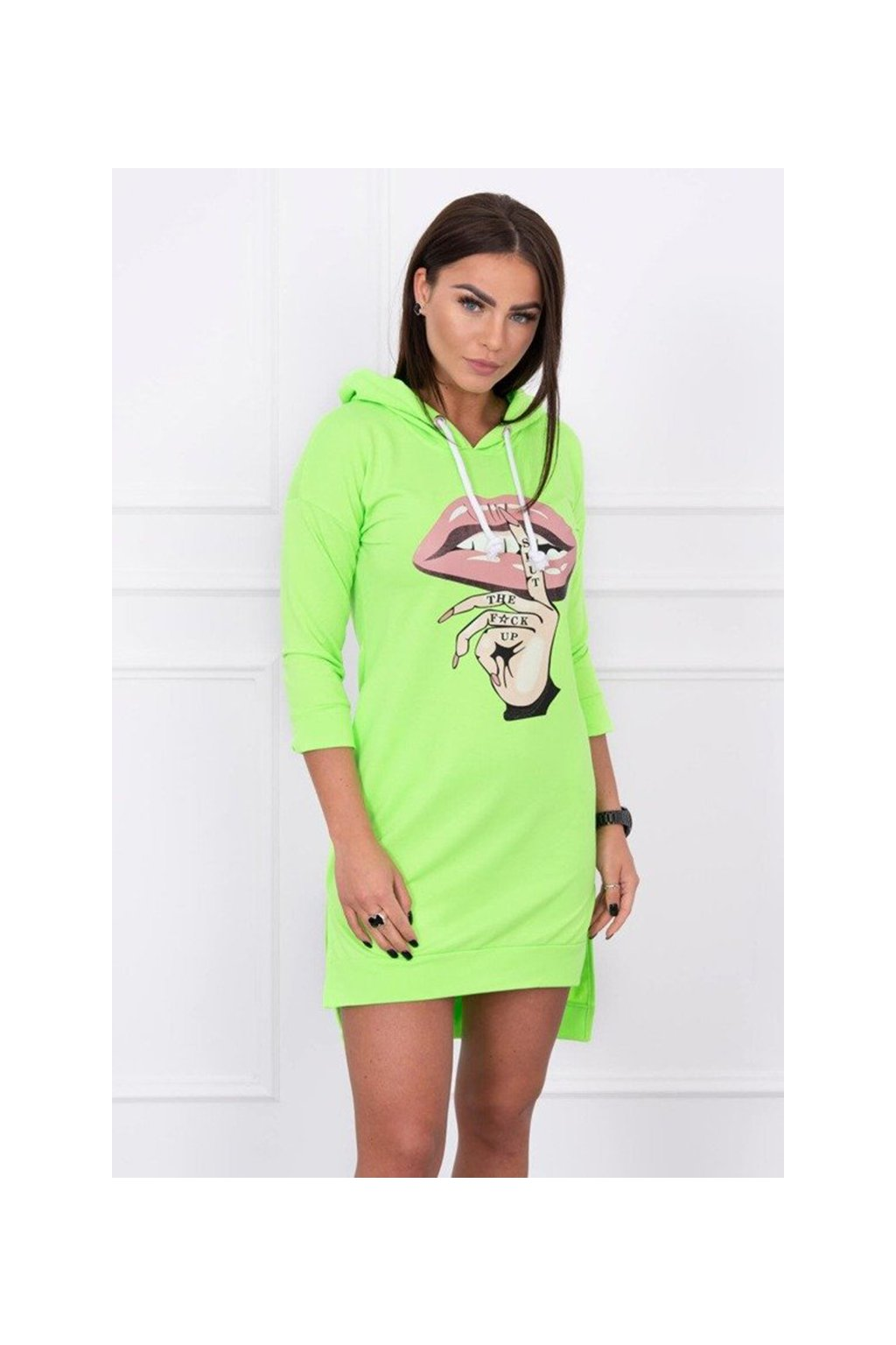 eng pm Dress with longer back and colorful print green neon 14755 3
