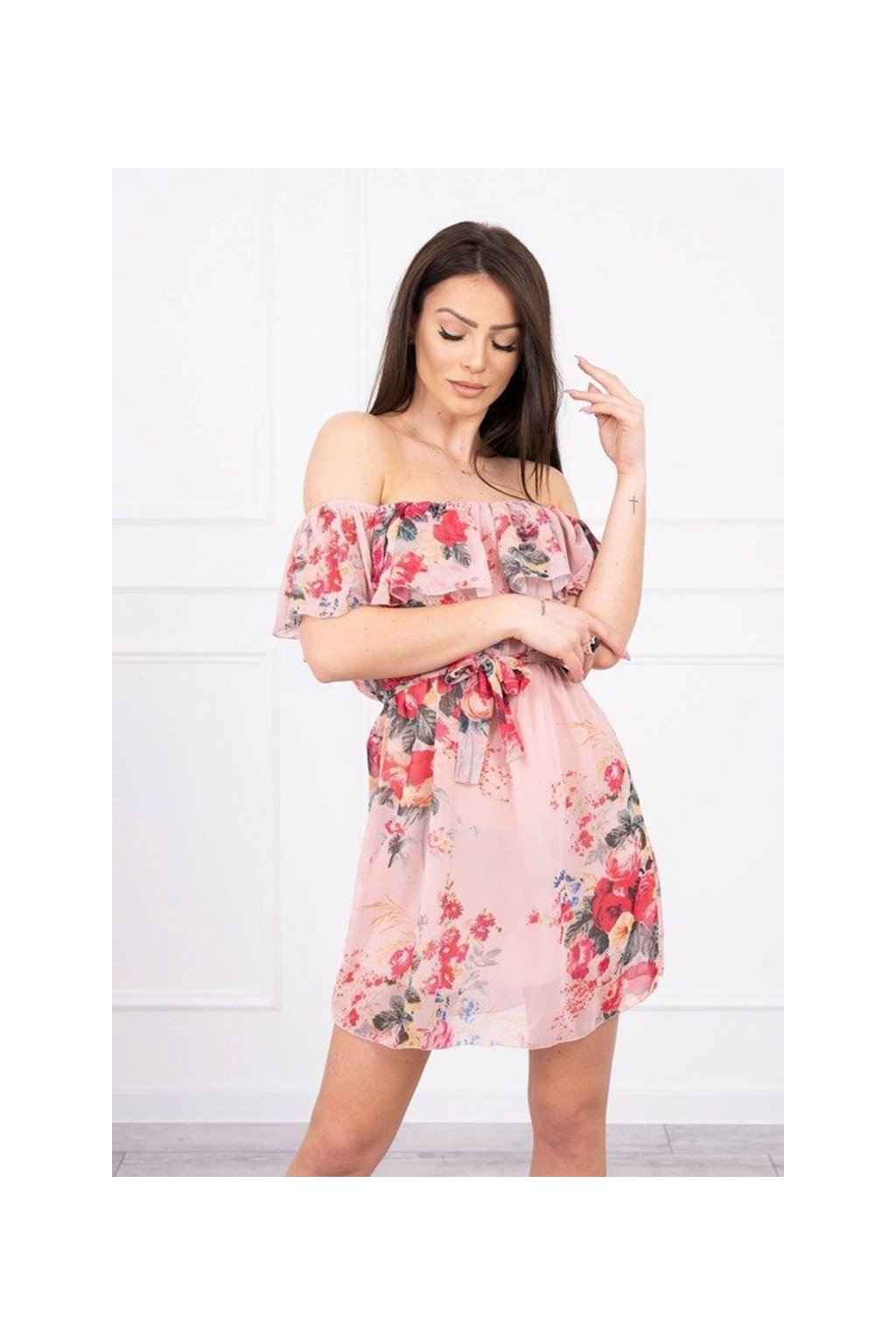 eng pm Off the shoulder floral dress powdered pink 17234 3