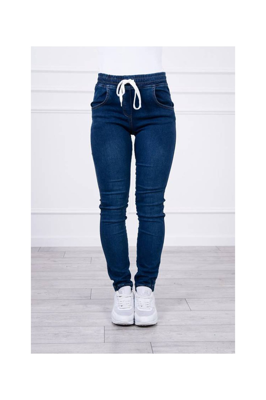 eng pm Denim trousers with a drawstring dark jenas 19711 3