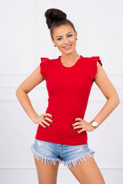 eng pl Blouse with frills red 17583 1
