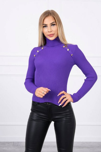 eng pl Thin sweater with turtleneck and buttons purple 19273 1