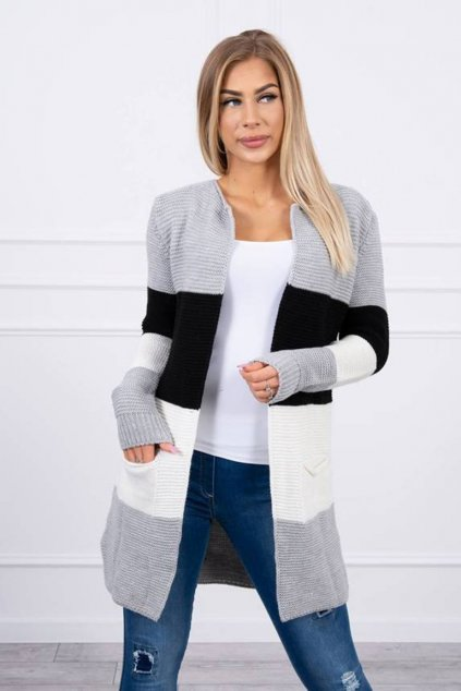 eng pm Sweater Cardigan in the straps gray black ecru 19603 2