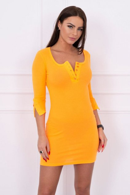 eng pm Dress with neckline with buttons orange neon 14801 3