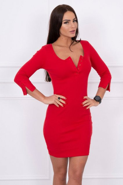 eng pm Dress with neckline with buttons red 14800 2
