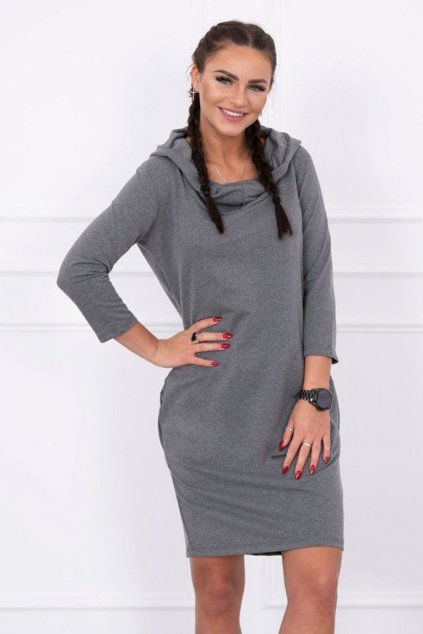 eng pm Dress with a hood and pockets graphite melange 12133 3