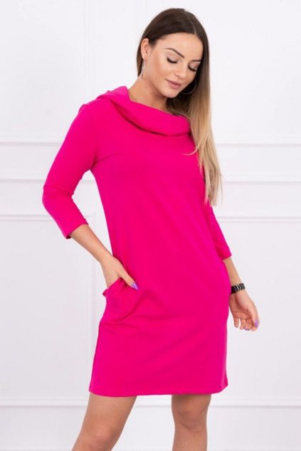 eng pm Dress with a hood and pockets fuchsia 15171 2