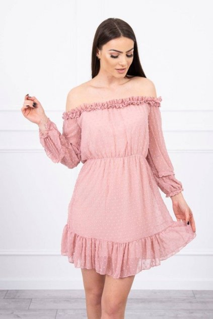 eng pm Off the shoulder dress with frills dark pink 17373 2