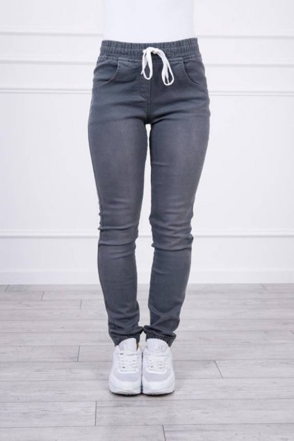 eng pm Denim trousers with a drawstring graphite 19713 5