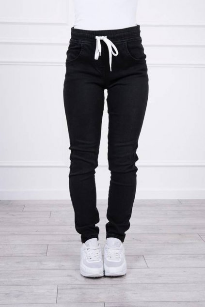 eng pm Denim trousers with a drawstring black 19712 4