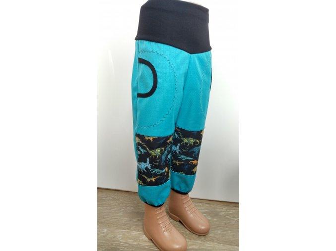 Softshelové kalhoty - tyrkys - dino