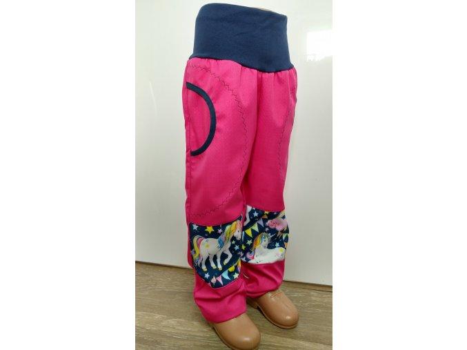 Softshelové kalhoty - růžové - jednorožec