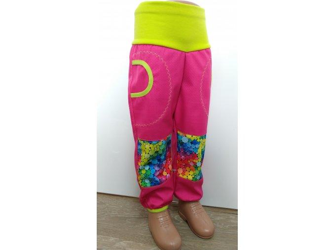 Softshelové kalhoty - růžové - bublinky