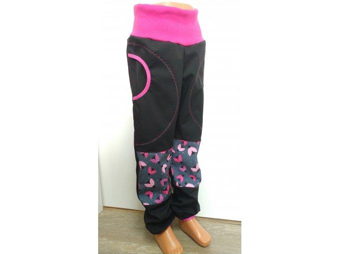 Softshelové kalhoty - černá - berušky