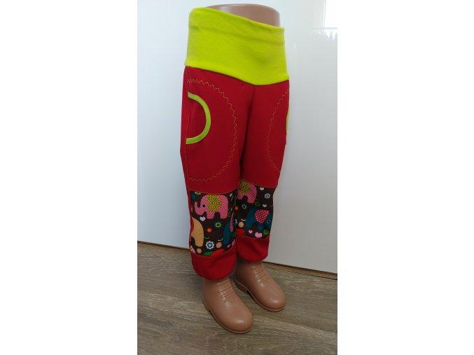 Softshelové kalhoty - červené- sloni