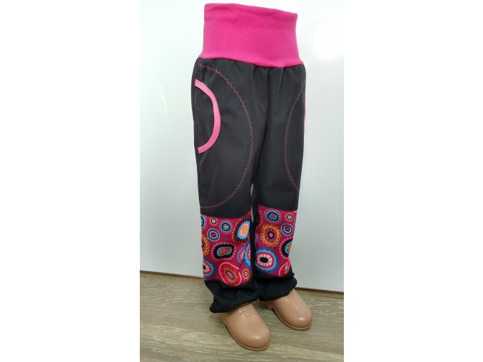 Softshelové kalhoty - černé - růžové bubliny
