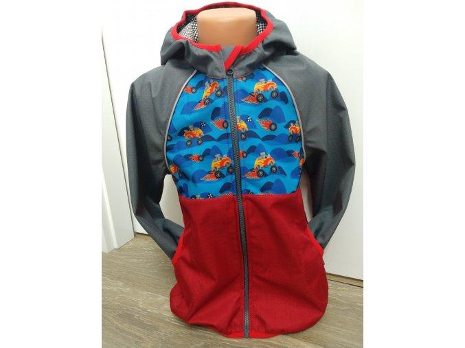 Softshellová bunda – šedá – červená – trucky