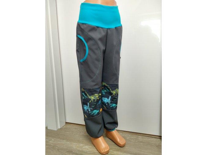 Softshelové kalhoty - šedé - dinosaurus