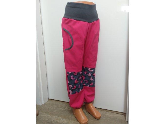 Softshelové kalhoty - růžová - berušky