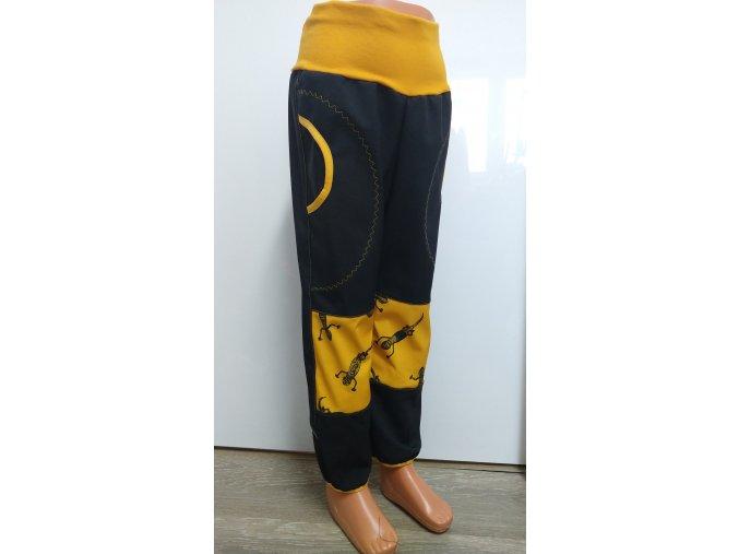 Softshelové kalhoty - černé - gekoni
