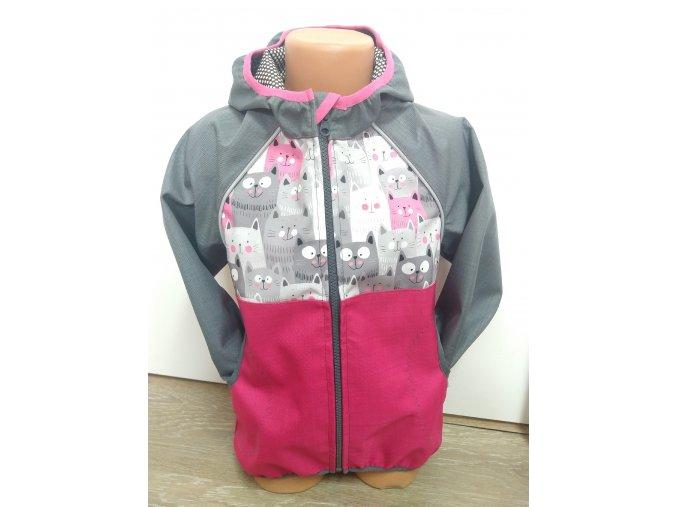 Softshellová bunda – růžová – šedá – kočičky