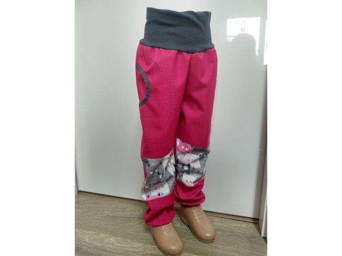 Softshelové kalhoty - růžové - kočičky