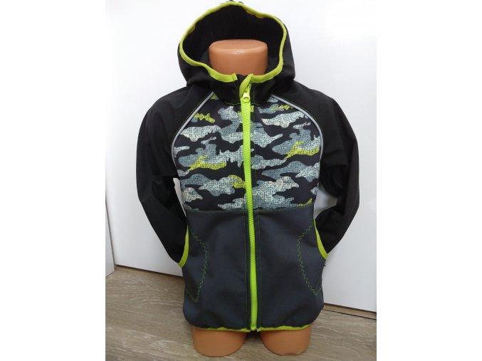 Softshellová bunda - černá - šedá - maskáč