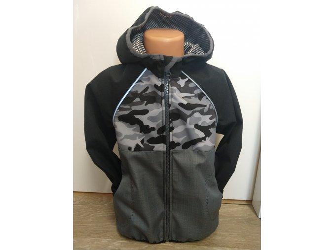Softshellová bunda - černá - maskáč
