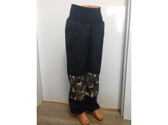 Softshelové kalhoty - černé - jeleni