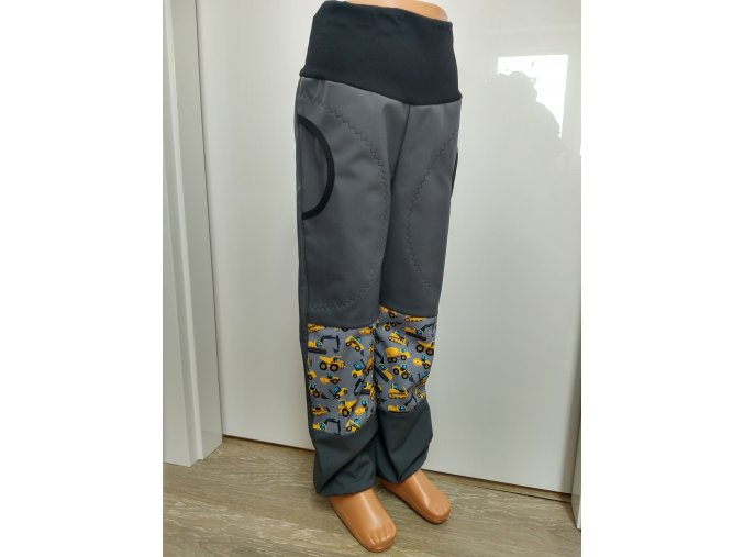 Softshelové kalhoty - šedé - bagr