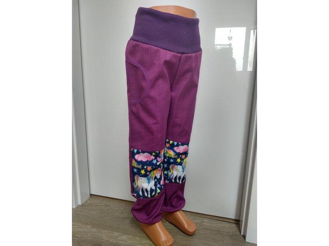 Softshelové kalhoty - fialové - jedorožec