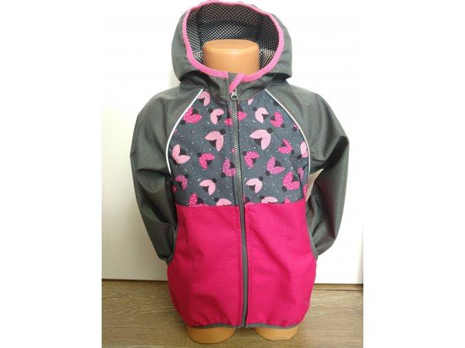 Softshellová bunda – růžová – šedá – berušky