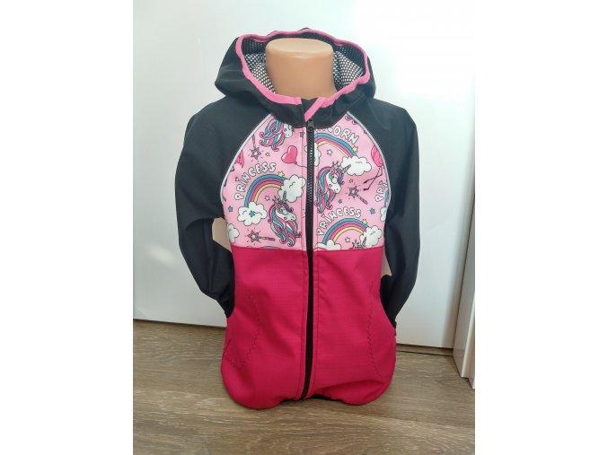 Softshellová bunda – růžová - černá – princezny