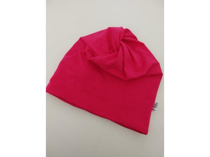 čepice s dírou- barva růžová