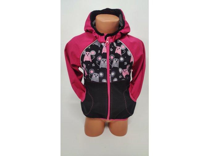 Softshellová bunda – růžová - myšky