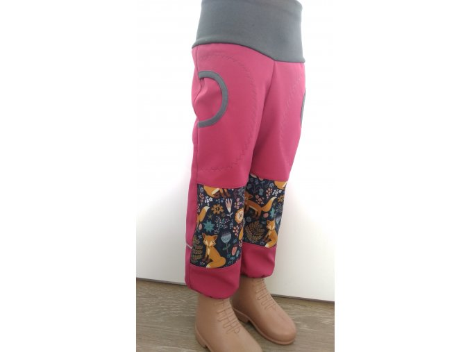 Softshelové kalhoty - růžové - lišky