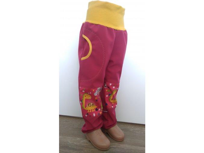 Softshelové kalhoty - růžová - dinosaurus