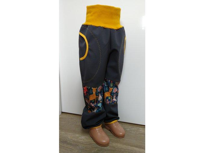 Softshelové kalhoty - šedé - lesní zvířátka