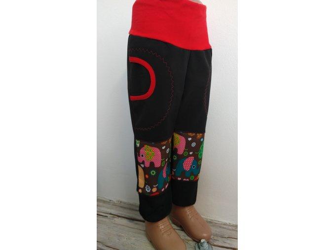 Softshelové kalhoty - černé - sloni