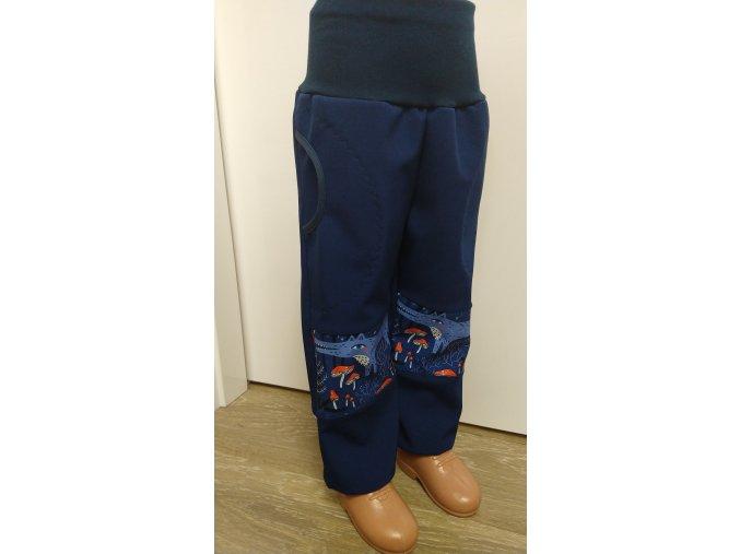 Softshelové kalhoty - tmavě modré - vlci