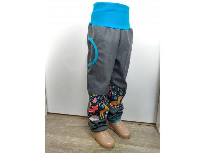 Softshelové kalhoty - šedé - zvířátka